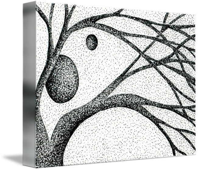 clip free stock Illustration of tree branches. Garra drawing pen and ink.