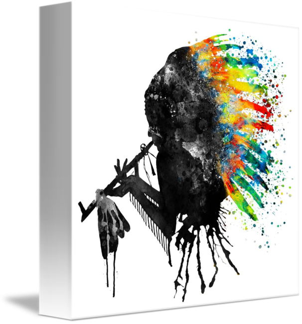 vector black and white stock Indian Silhouette With Colorful Headdress