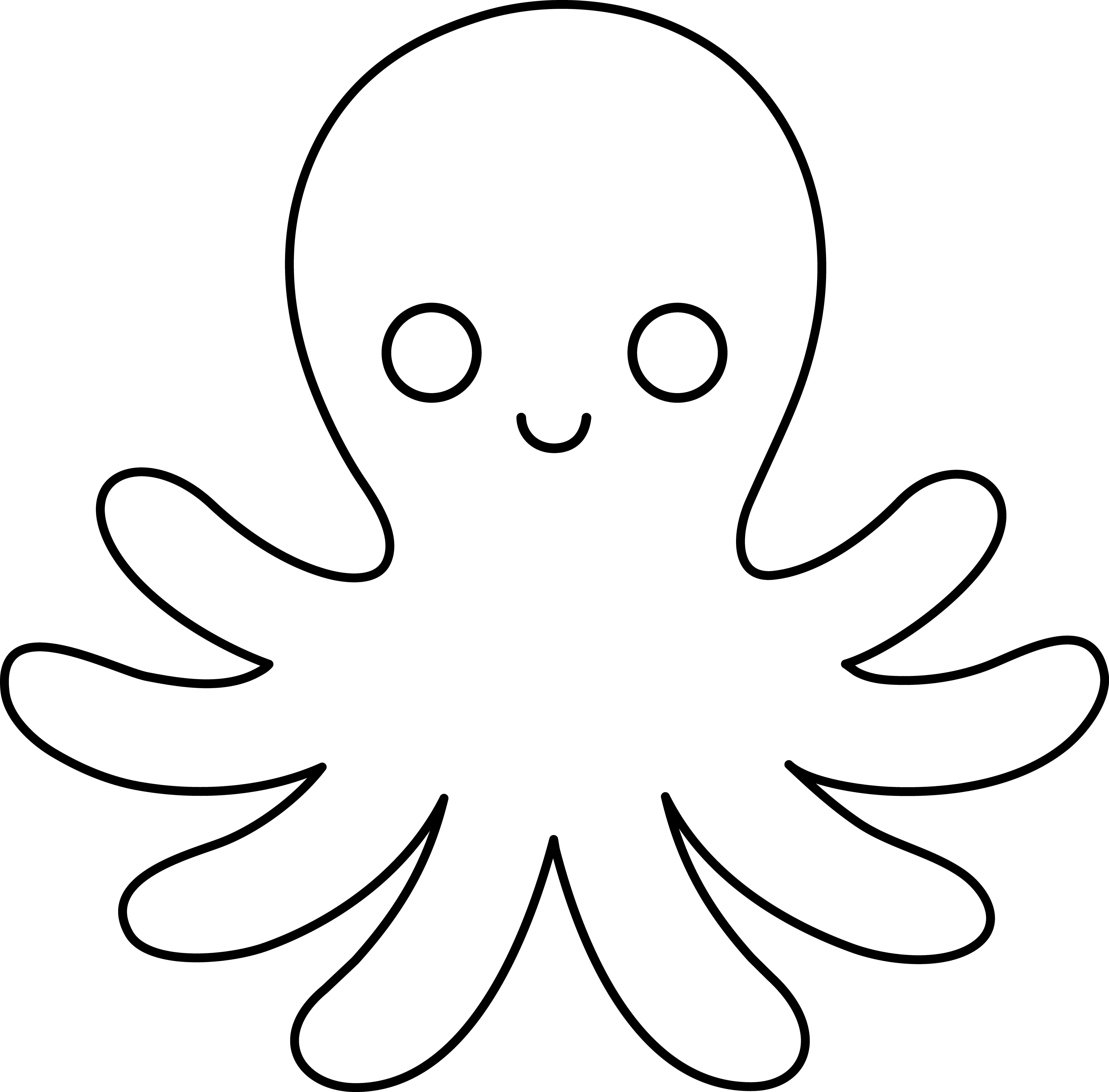svg freeuse download Clip art black and. Drawing octopus cute