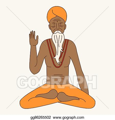 clipart freeuse Vector art outline yoga. Asian clipart monk