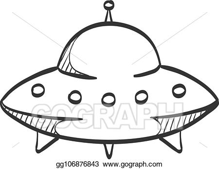 jpg freeuse library Astronomy clipart flying saucers. Vector art sketch icon.
