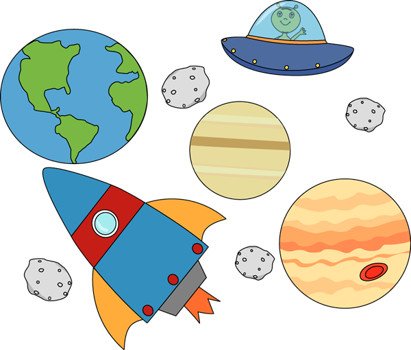 banner free Doodle clipart outer space. Rocket and ufo flying.