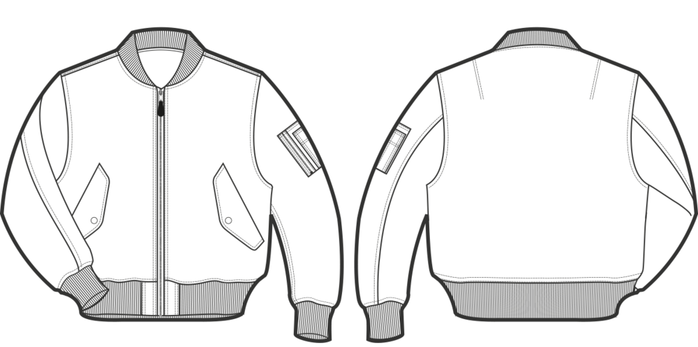 clip free stock jacket technical drawing