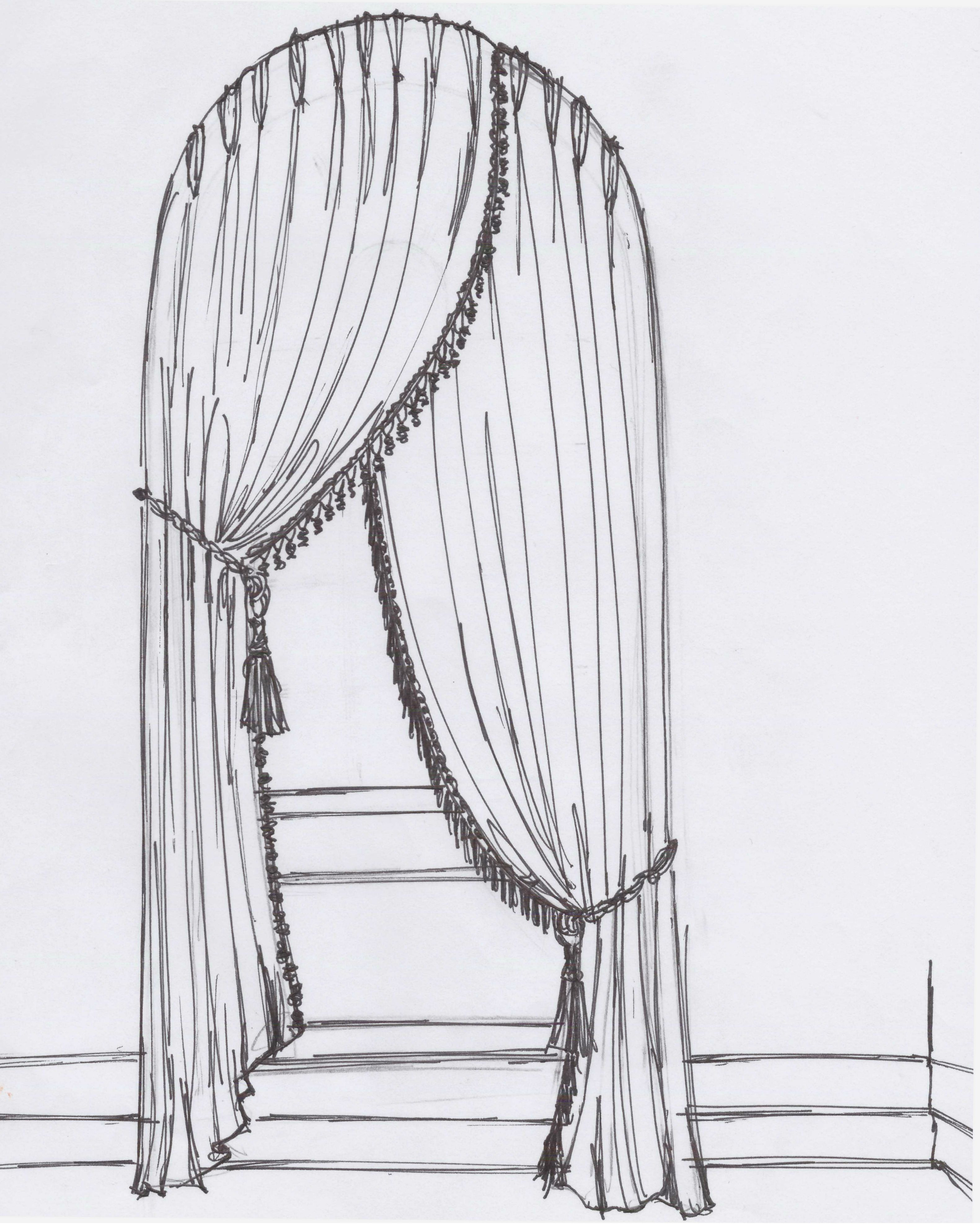 clipart royalty free library Asymmetrical drawing. Curtain sketch in sketches