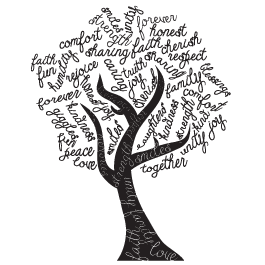 download Tree Word Art wall stickers