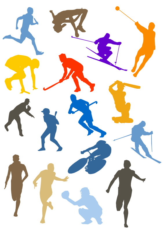 clip transparent library Silhouette disciplines set medium. Athletic clipart different sport.