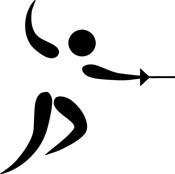 png black and white Sports pictogram clip art. Fencing clipart olympic athlete.