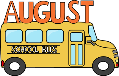banner transparent School bus clip art. August clipart monthly
