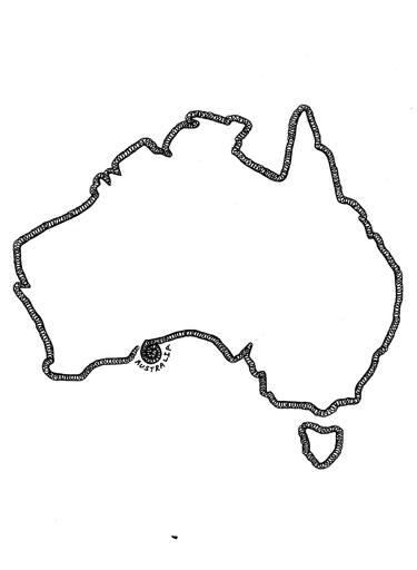 vector black and white Australia drawing. Border