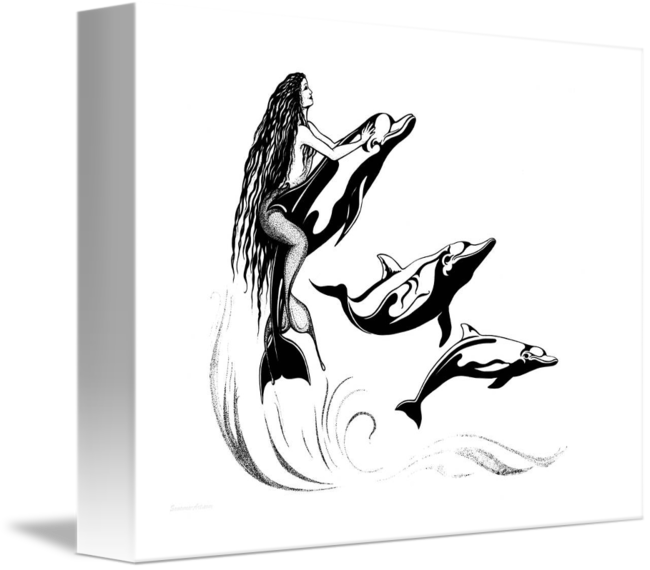 banner Mermaid dolphins ink by. Spiritual drawing pen
