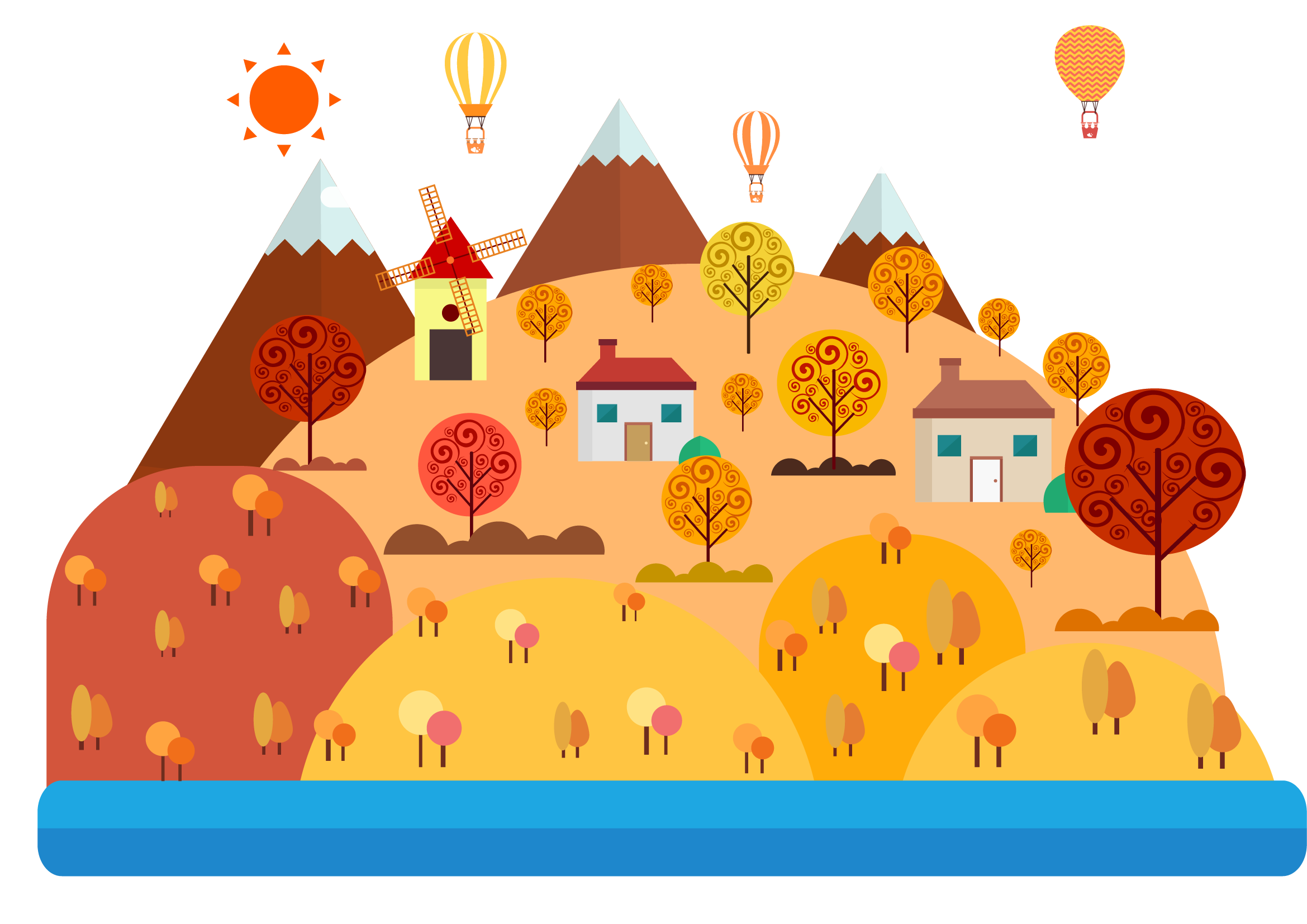 clip art transparent Vector candy landscape. Drawing cartoon illustration autumn