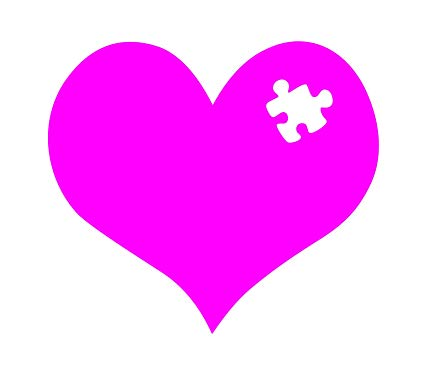 image free Awareness heart puzzle piece. Autism clipart pink