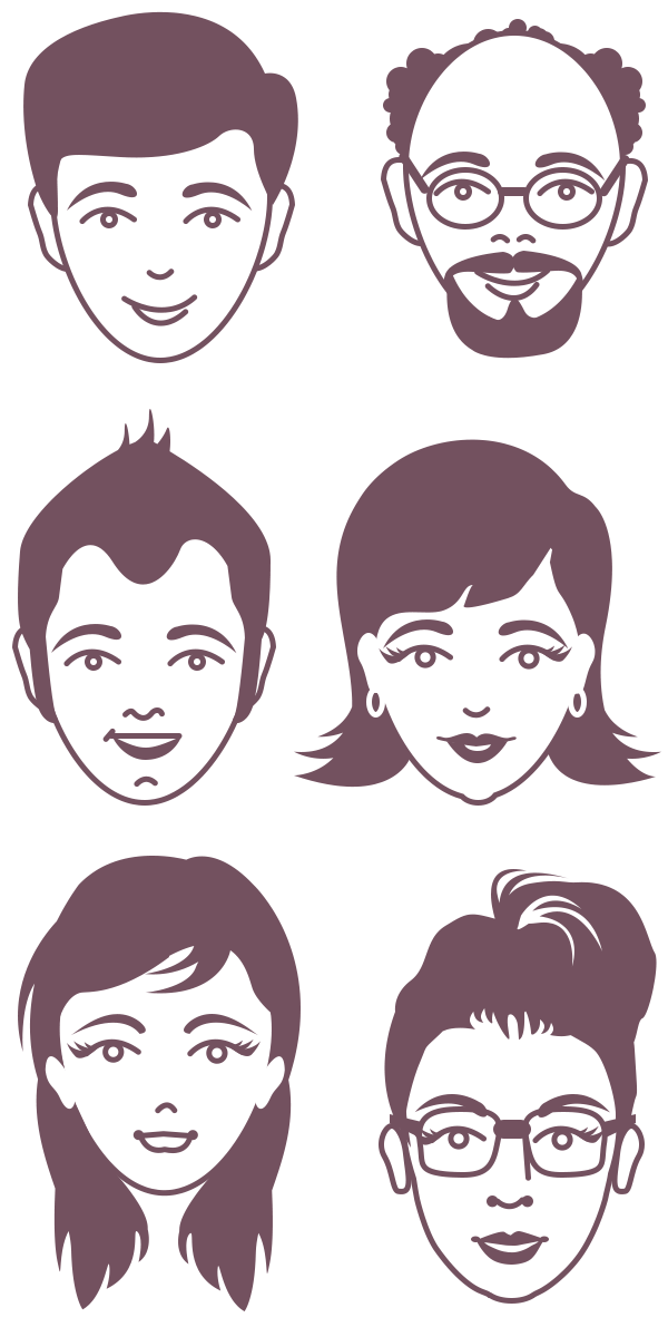 vector library And avatar faces psd. Vector dental male female