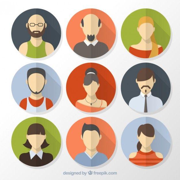 banner free Vector avatar infographic. Flat people avatars inside