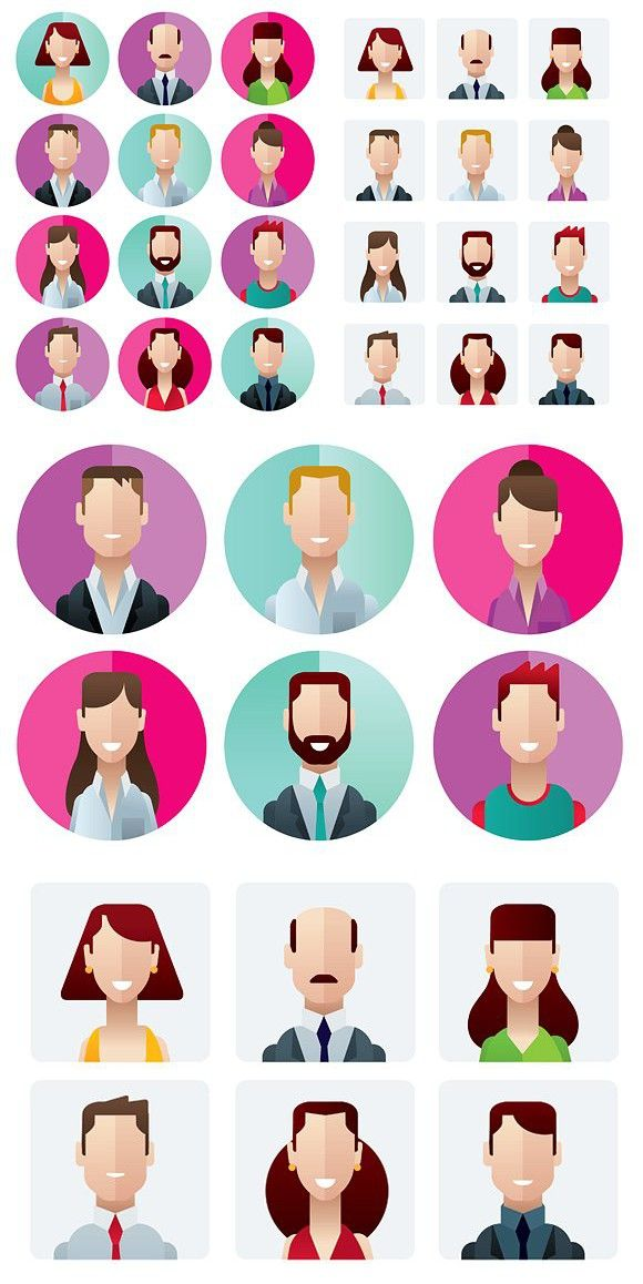 svg royalty free User human man icons. Vector avatar infographic