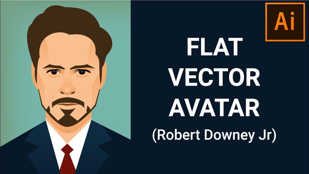 graphic freeuse library Flat portrait design tutorial. Vector avatar minimal