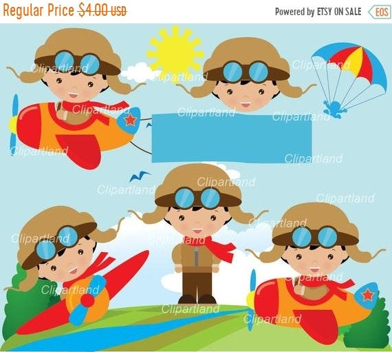 graphic freeuse Aviator clipart child. On sale instant download.