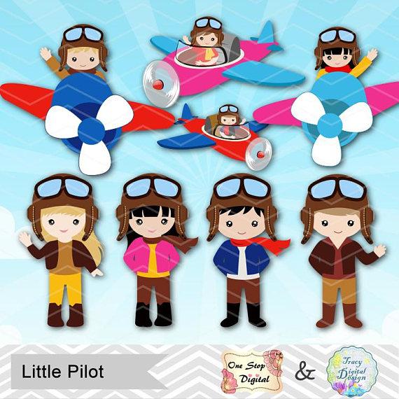clip royalty free stock Aviator clipart pilot girl. Digital little boy .