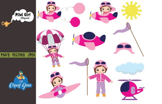 image royalty free Aviator clipart pilot girl. Little pilots characters plane.