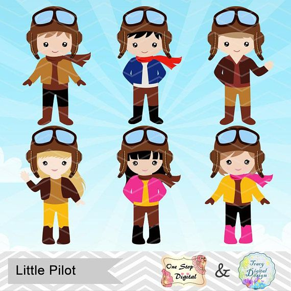 jpg royalty free library Digital little boy . Aviator clipart pilot girl.
