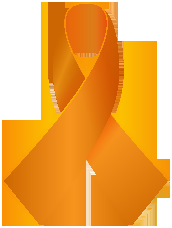 image free stock Orange ribbon png clip. Awareness clipart