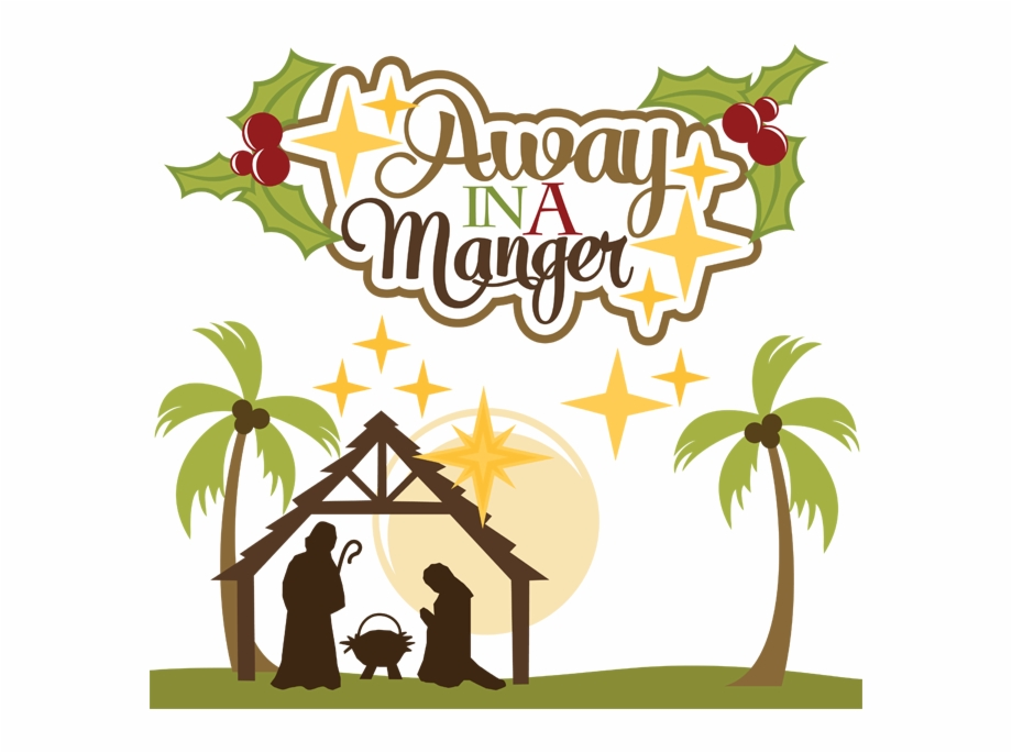 clipart black and white Away in a manger clipart. Svg christmas transparent .