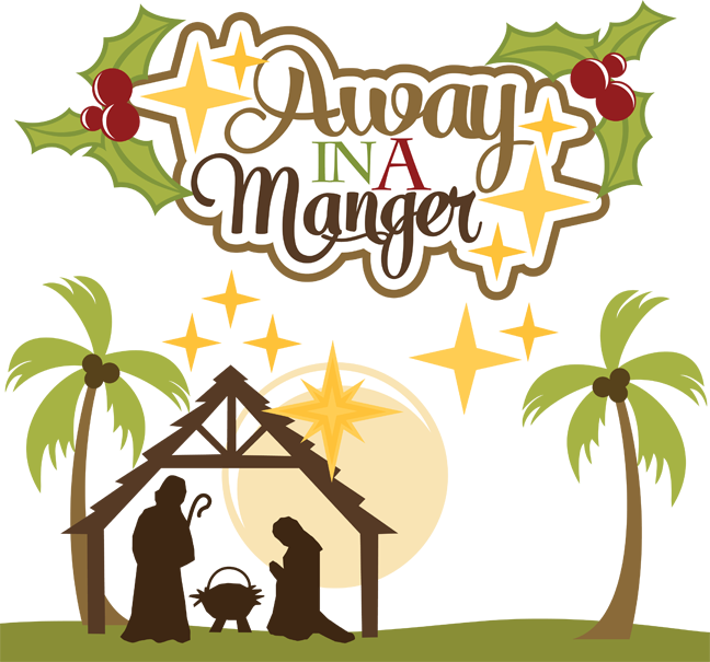 banner black and white library Away In A Manger SVG