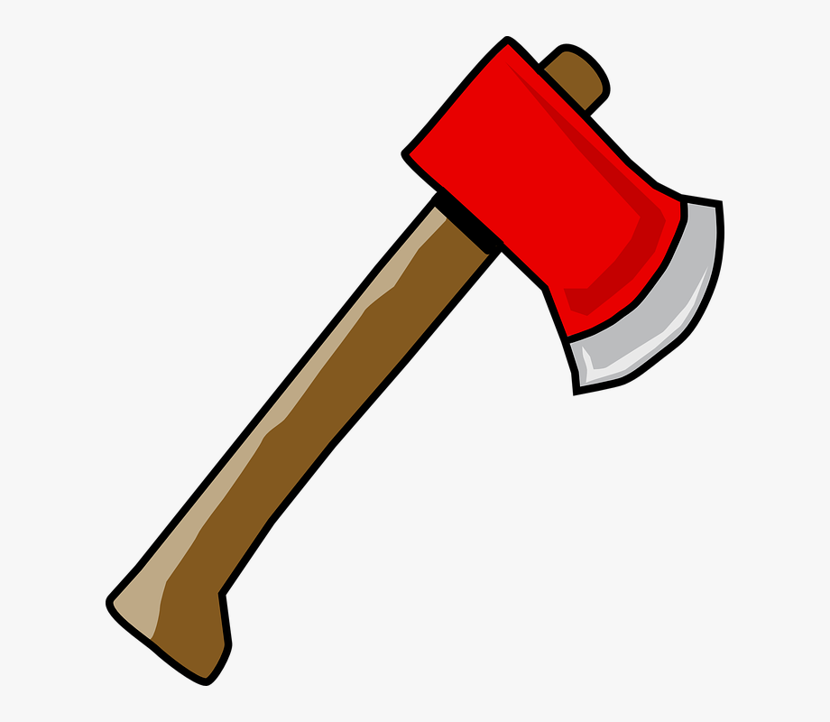 picture royalty free library Red wood lumber hatchet. Axe clipart