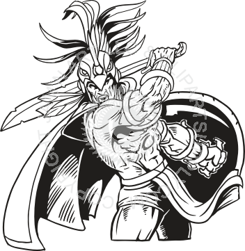 graphic Fighting clipart black and white. Aztec warrior