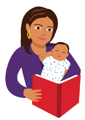 vector royalty free download Mother And Baby Clipart reading