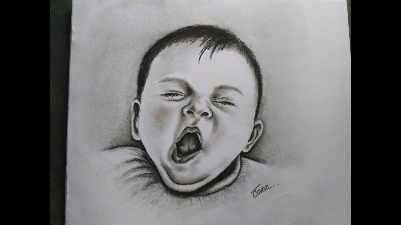 black and white Drawing charcoal baby. How to draw realistic