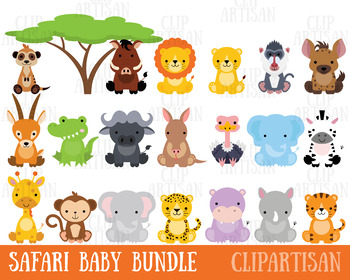 picture transparent download Baby animal clipart. Safari animals jungle zoo