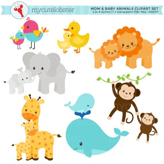 clip art free Mom and animals set. Baby animal clipart