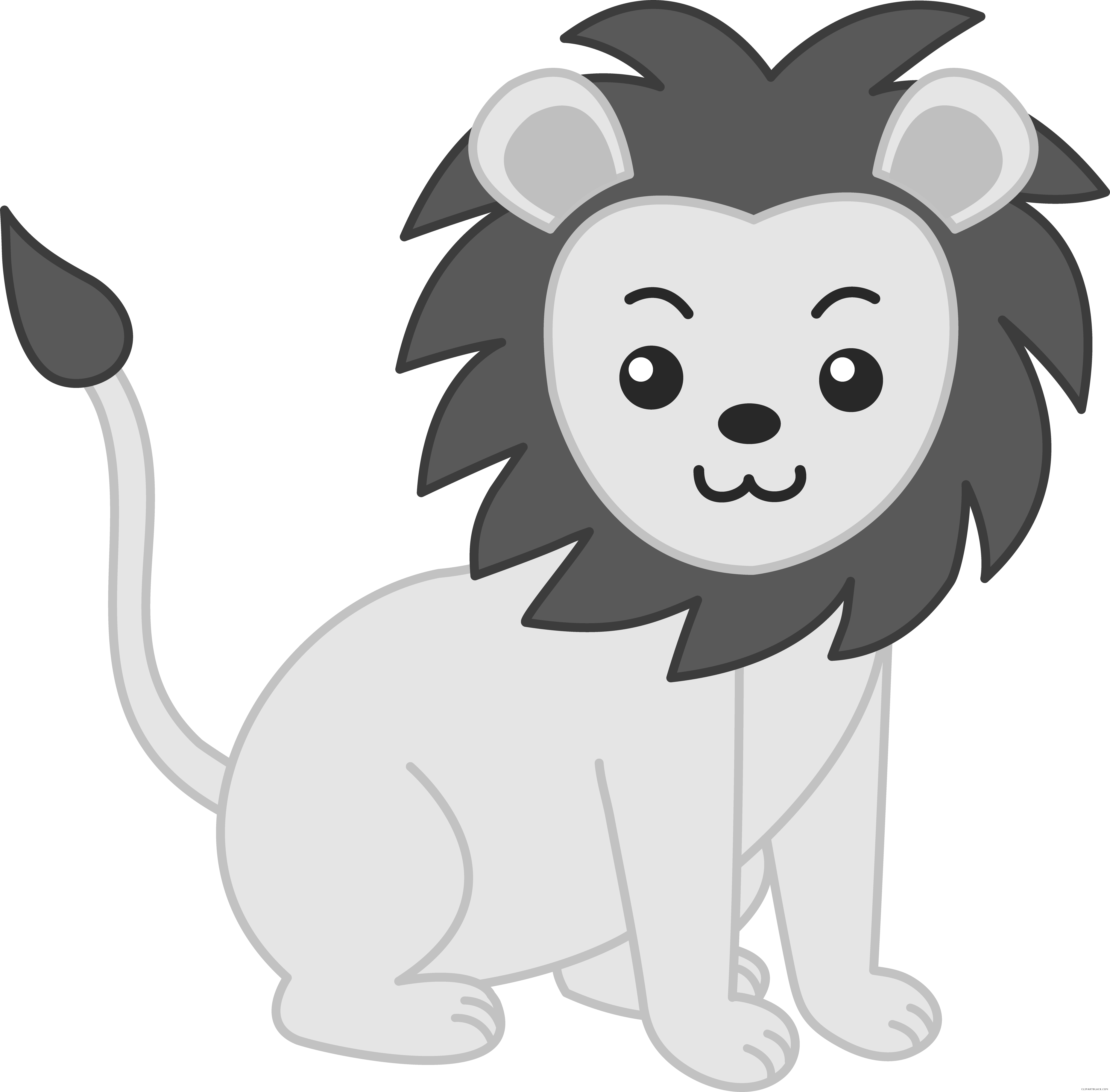 clip art royalty free Baby animal clipart black and white. Lion free images clipartblack