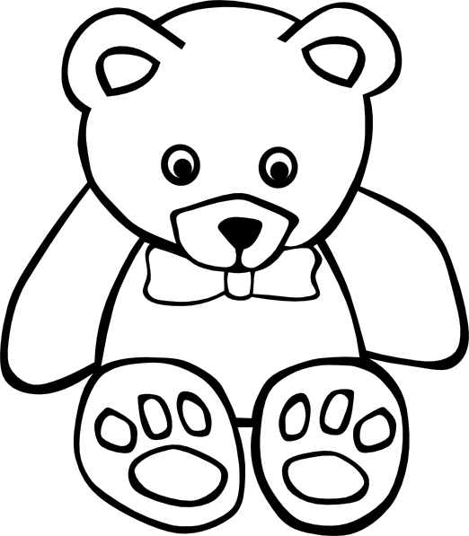 banner free Teddy outline clip art. Baby bear clipart black and white
