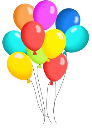svg royalty free library Birthday Balloons And Cake Clip Art Many Colorspng Clipart
