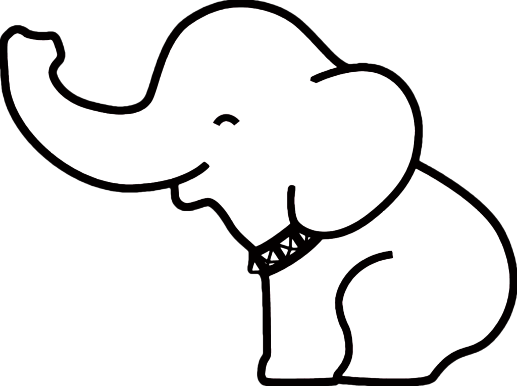 clip art download Cute baby elephant drawing. Elephants clipart black and white