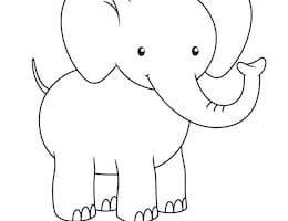 jpg freeuse stock Baby elephant clipart outline. Portal