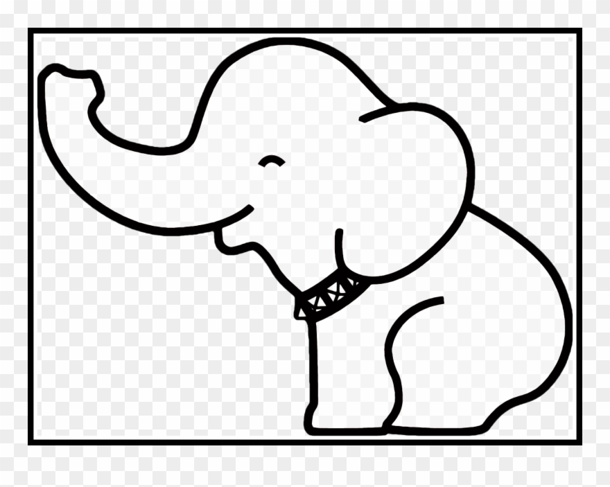 vector library download Pig drawing easy . Baby elephant clipart outline