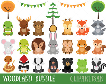clip freeuse download Baby forest animal clipart. Woodland clip art bundle