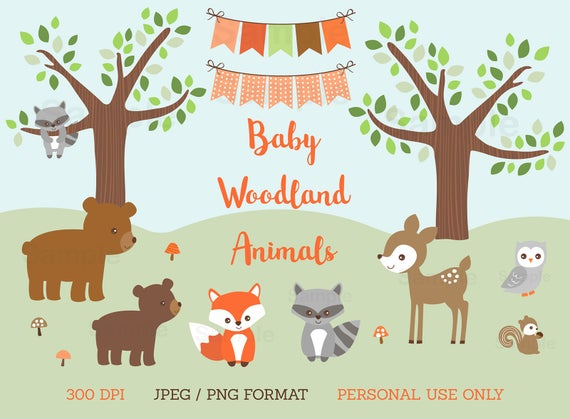 clipart royalty free stock Baby forest animal clipart. Woodland shower animals personal