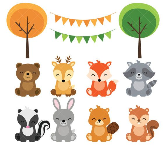 graphic freeuse stock Woodland animals . Baby forest animal clipart