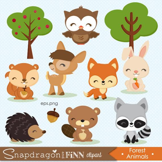 banner Baby forest animal clipart. Buy get woodland animals