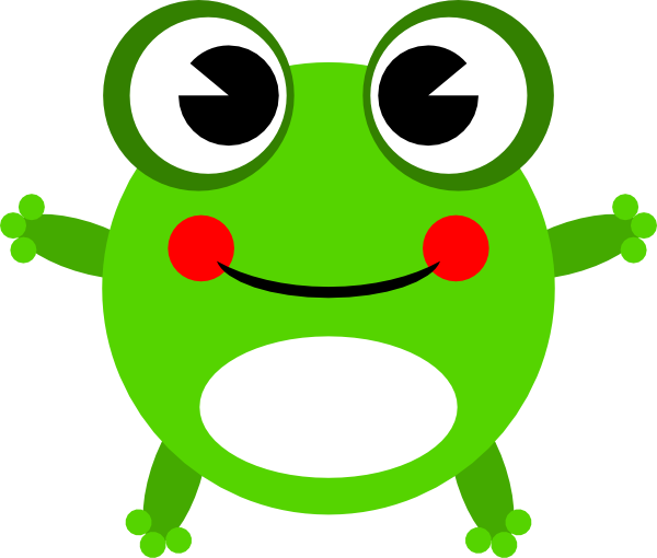 vector black and white Cute Baby Frog Clipart