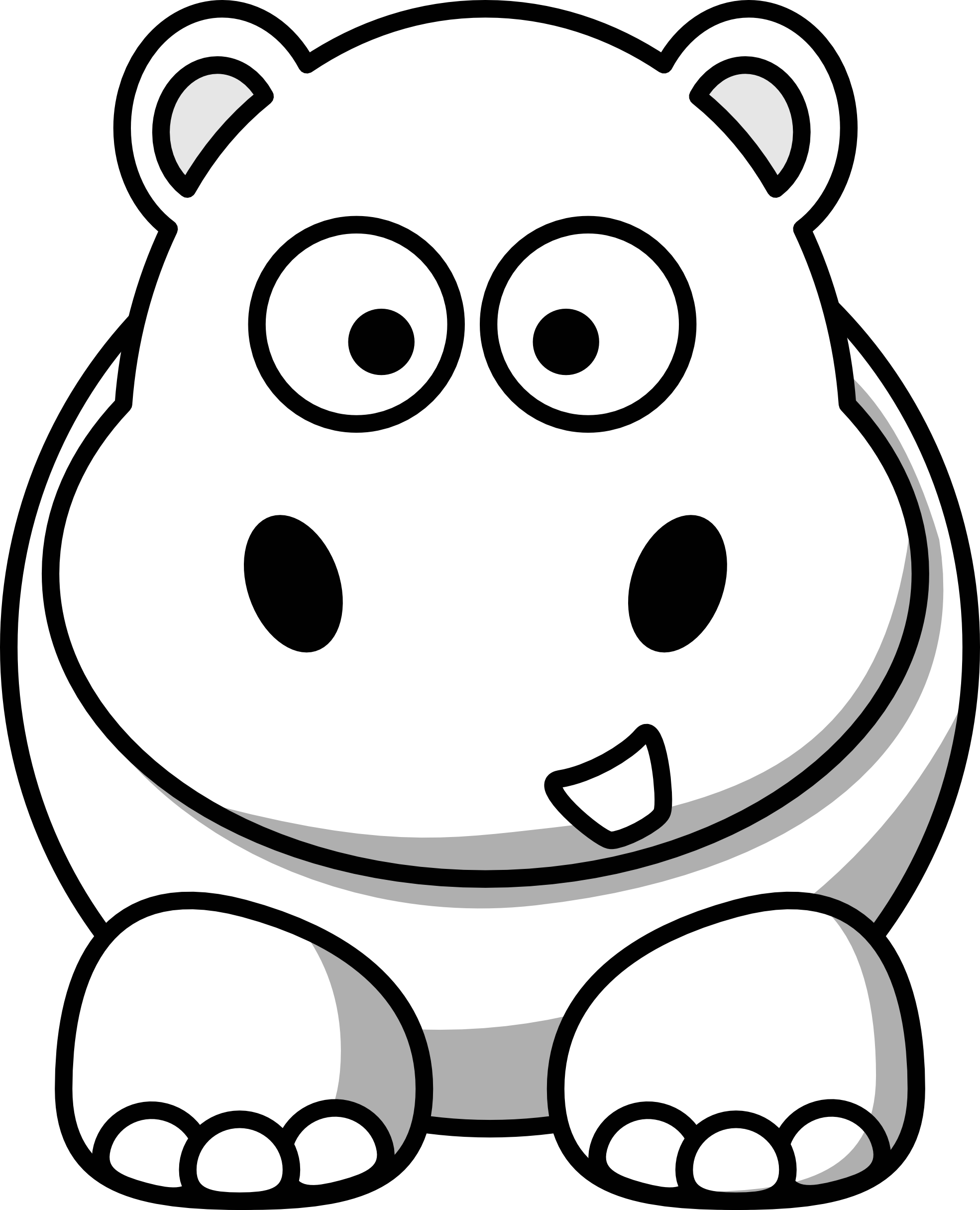 library Grinch clipart black and white. Image of baby hippo
