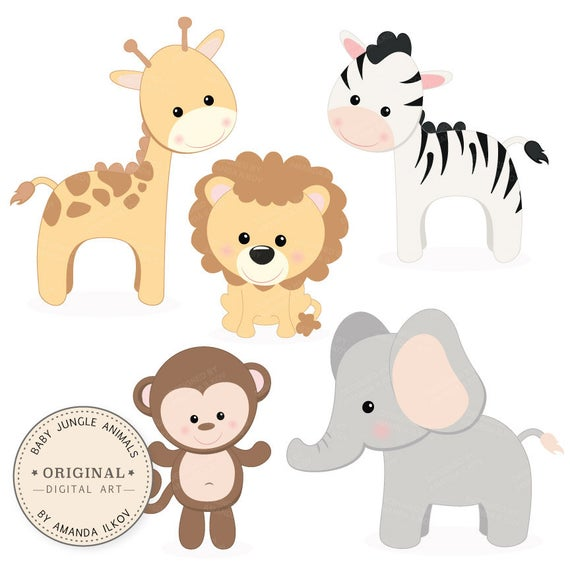 clip transparent library Professional animals vector set. Baby jungle animal clipart