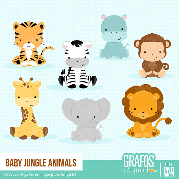 jpg royalty free download Baby jungle animal clipart. Animals digital set