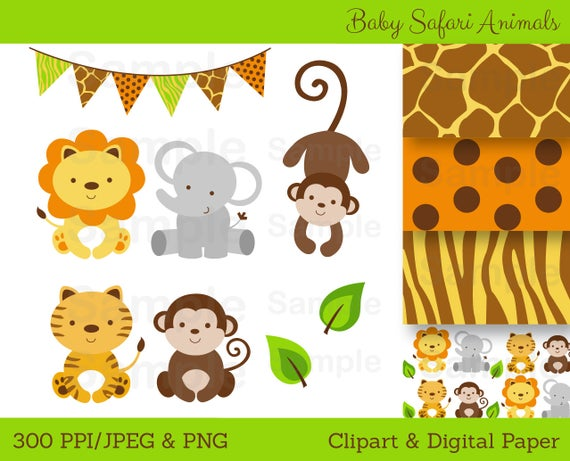 clip transparent download Baby jungle animal clipart. Cute safari shower personal