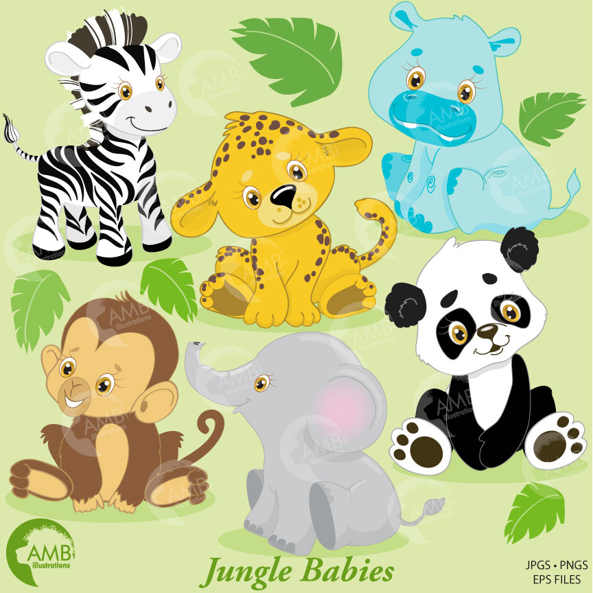 clip stock Animals clip art babies. Baby jungle animal clipart