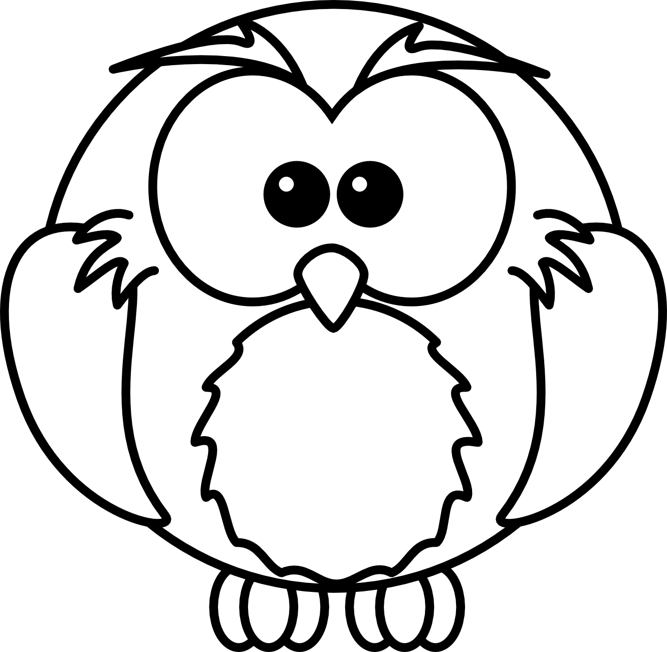 jpg black and white library Baby owl panda free. Black and white animal clipart